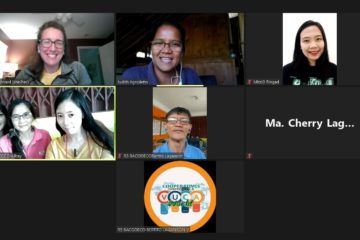 Amy Conard on a Zoom chat with a F2F organization
