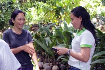 Farmers working with Community Agent