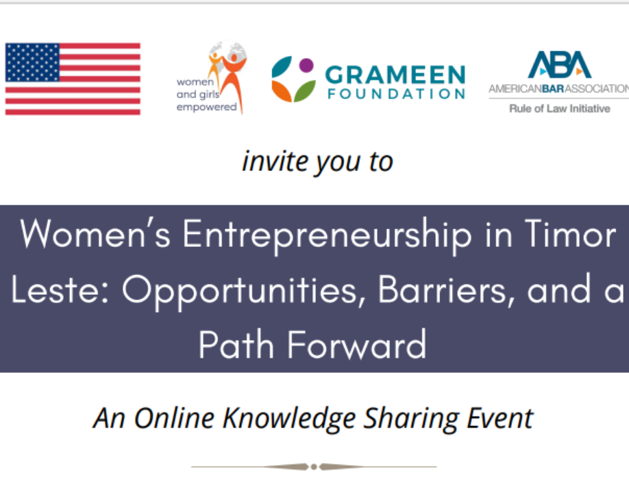 Event graphic for Women's Entrepreneurship in Timor Leste: Opportunities, Barriers, and a Path Forward